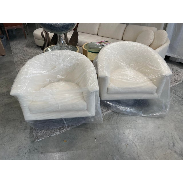 1970s 1970s Milo Baughman Swivel Chairs - a Pair For Sale - Image 5 of 13