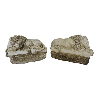 Pair of French Cast Stone Lions, Circa 1900 For Sale