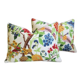 "Colorful Chinoiserie Bird & Floral Feather/Down Pillows 24"" X 18"" - Pair For Sale"