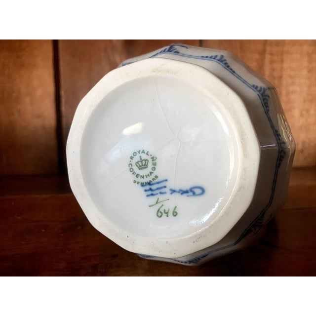 Ceramic Royal Copenhagen Fluted Half Lace Blue Pitcher For Sale - Image 7 of 8