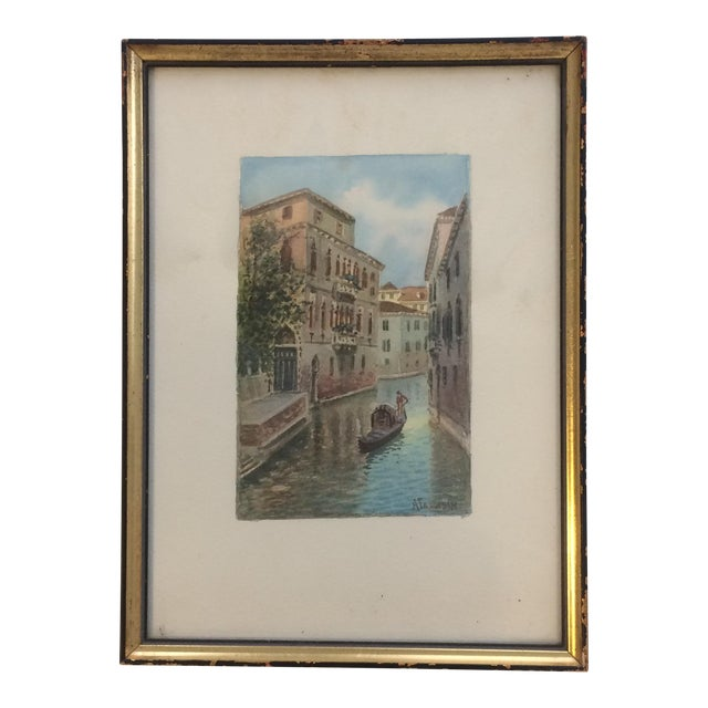 Alberto Trevisan Venice Watercolor Painting For Sale