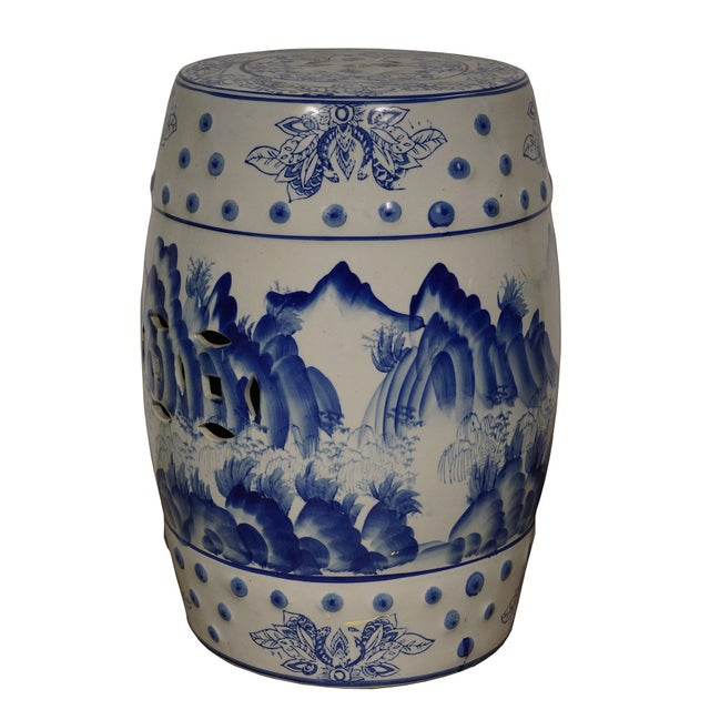 Chinese Mid 20th Century Vintage Chinese Blue and White Ceramic Stool For Sale - Image 3 of 8