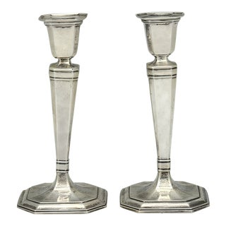 Tiffany Hampton Sterling Pair Candlesticks. For Sale