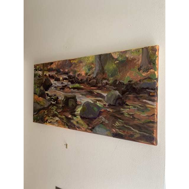 Impressionist The Stream Painting on Canvas For Sale - Image 4 of 9