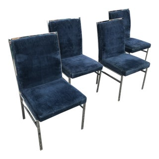 1970s Vintage Pierre Cardin Chrome and Blue Velvet Dining Chairs- Set of 4 For Sale