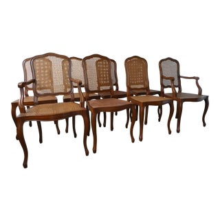 Reproduction Louis XV Walnut Caned Dining Chairs - Set of 8