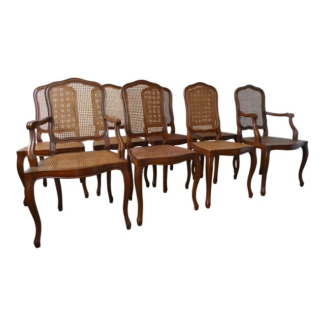 Reproduction Louis XV Walnut Caned Dining Chairs - Set of 8 - Image 1 of 10