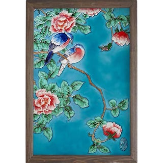 Painted Wall Decoration With Hand-Painted Porcelain Plate For Sale