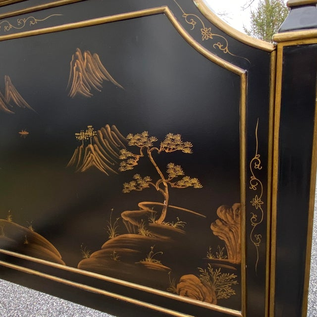 Chinoiserie Queen Size Pagoda Black & Gold Complete Bedframe For Sale - Image 9 of 13