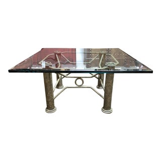 1980s Industrial Style Funky Metal and Glass Cocktail Table For Sale
