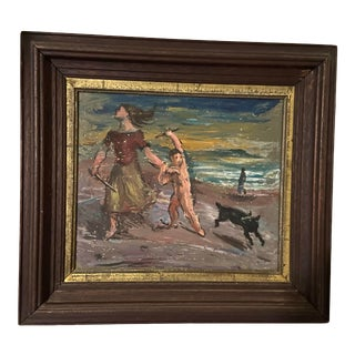 """Early 20th Century """"Nude on the Beach"""" Figurative Oil Painting, Framed For Sale"""