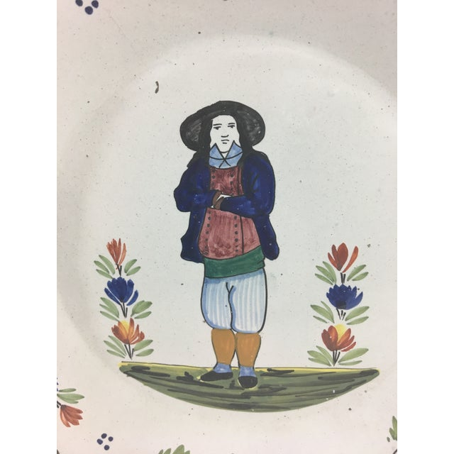 French Provincial Quimper Plates With Men- Set of 3 For Sale - Image 3 of 11