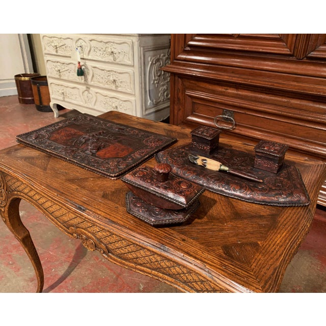 Leather 19th Century French Gothic Embossed Leather Five-Piece Desk Set For Sale - Image 7 of 13