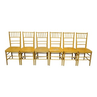 Set of 6 Vintage Wooden Faux Bamboo Chiavari Banquet Dining Chairs For Sale