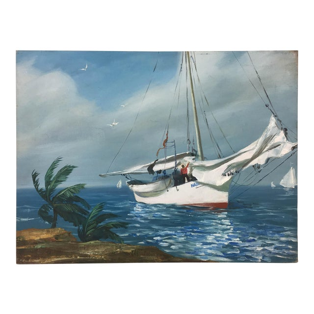 Vintage Impressionism Harbor View Painting For Sale