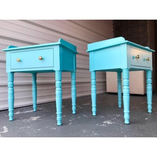 C F Kent Furniture High Gloss Lacquered Key Largo Blue / End Tables - a Pair Preview