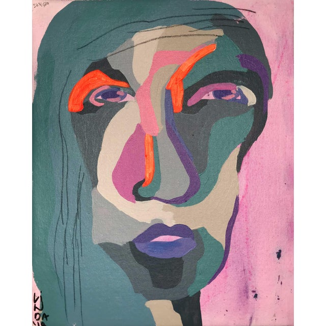 """Contemporary Abstract Portrait Painting """"Hero Lady, No. 3"""" - Framed For Sale - Image 10 of 10"""
