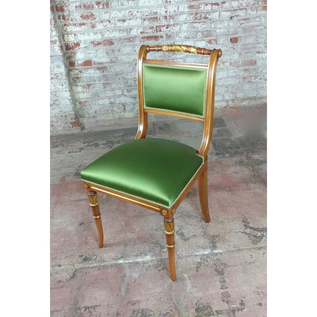 English Regency Parcel Gilt W/Satin Green Upholstery Dining Chairs -Set of 10 - Image 5 of 8