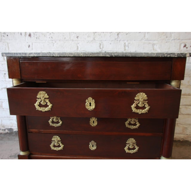 French Empire Mahogany Marble Top Commode Chest of Drawers, Circa 1850 For Sale In South Bend - Image 6 of 13