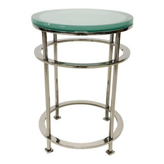 Nickel And Glass Side Table by The Mirak Collection