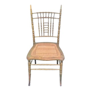 Vintage Caned Chair With Gilded Woodwork For Sale