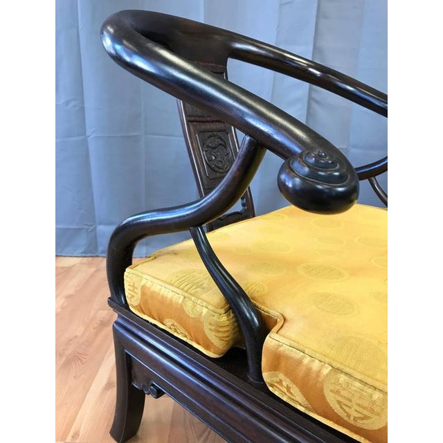 Fabric Chinese Rosewood Horseshoe Chow Chairs, 1920s - A Pair For Sale - Image 7 of 10