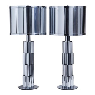 Pair of Curtis Jere Sculptural Metal Table Lamps, 1970s For Sale