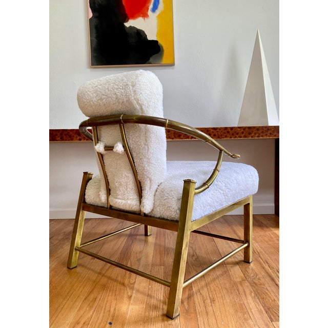 Metal Vintage Mastercraft Brass Empress Lounge Chair in Faux Shearling For Sale - Image 7 of 10