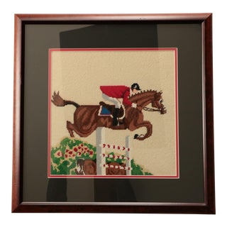 """Show Jumping"" Equestrian Needlepoint For Sale"