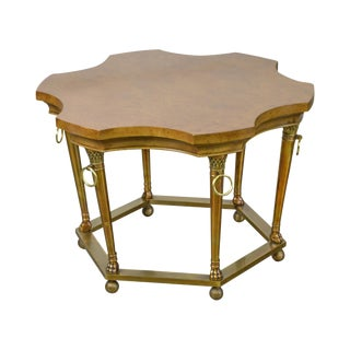 Mastercraft Burl Wood Brass Base Regency Style Side Table