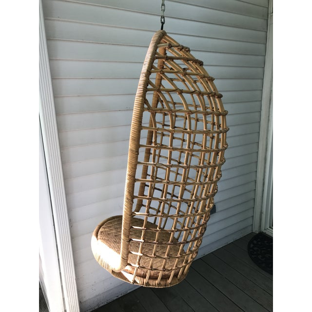 Vintage Hanging Rattan Egg Chair - Image 3 of 7