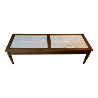 Mid-Century Walnut and Travertine Coffee Table For Sale