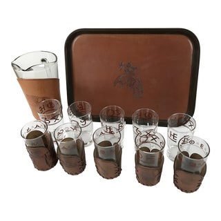Vintage Set of Libby Leather Western Barware Tumblers Pitcher Tray