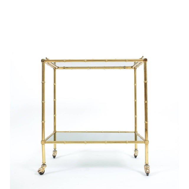 1960s Faux Bamboo Brass Bar Cart with Removable Glass Tray For Sale - Image 5 of 7