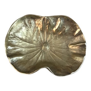1940s Hollywood Regency Virginia Metal Crafters Brass Lotus Leaf Bowl For Sale