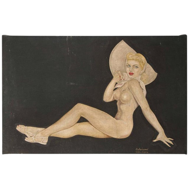 "Large Art Deco ""Trench Art"" Pin-Up Painting, Oil on Heavy Cloth, Signed For Sale"