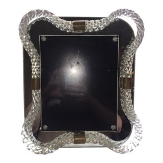 Twisted Braided Rope Murano Glass and Brass Picture Frame For Sale