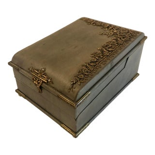 Art Nouveau French Leather Sewing Box - 8 Pieces For Sale