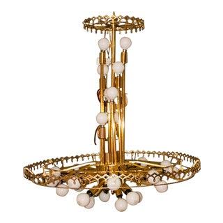 Mid-Century Italian Sciolari-Style Brass 30-Bulb Sputnik Chandelier For Sale