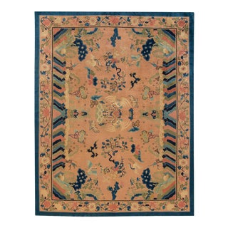 Antique Peach Peking Chinese Room Size Wool Rug 9 Ft X 11 Ft 9 In. For Sale