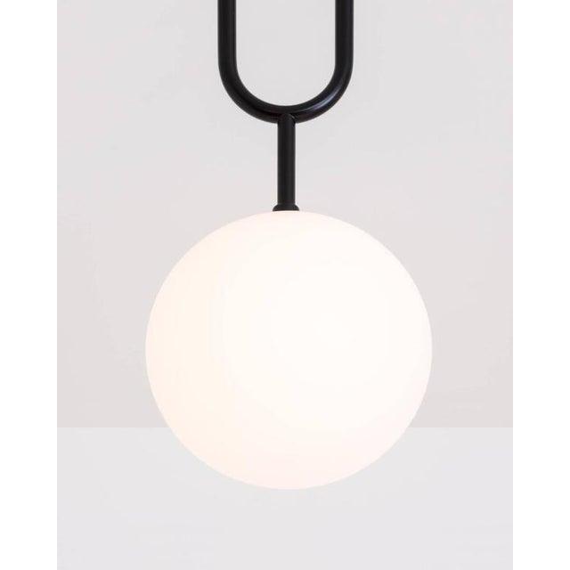 Art Deco Koko Satin Globe Shade & Matte Black Finish Modern Pendant Light For Sale - Image 3 of 10