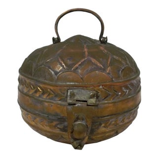 Round Copper Box Vintage Spice and Tea Storage For Sale