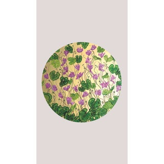 Tondi Fiori Collection Cyclamen Gold Circular Shaped Wallcovering On Lilac Marble For Sale