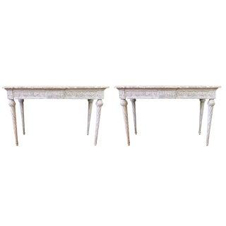 19th C Louis XVI Console Tables Pair For Sale