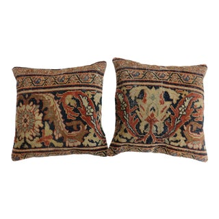 Pair of Antique Sultanabad Rug Pillow For Sale