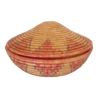 Vintage African Coiled Basket and Lid For Sale