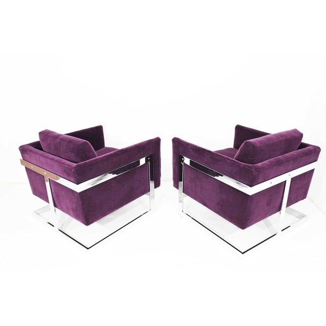 Milo Baughman T-Back Cube Chairs in Maharam Mohair - a Pair For Sale - Image 12 of 13