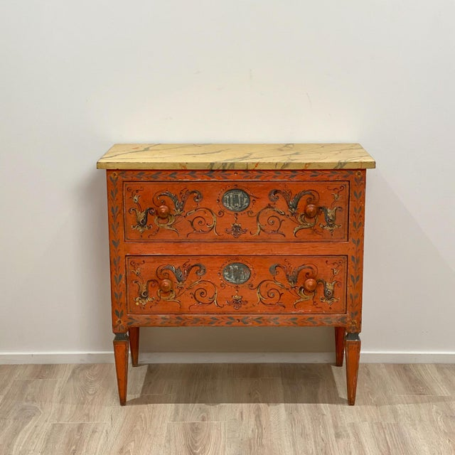 Orange 19th Century Painted Chest of Drawers, Italy For Sale - Image 8 of 8