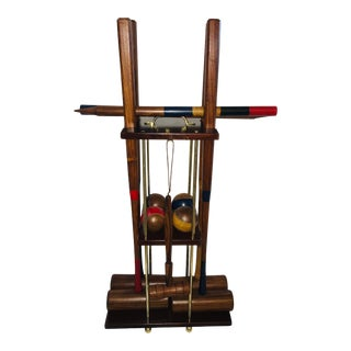 Wood Croquet Stand & Iron Hoops For Sale