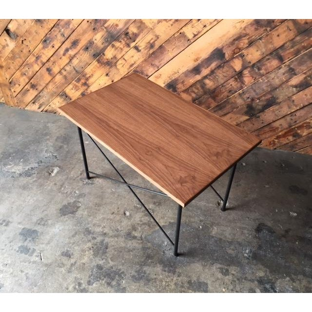 Custom Mid Century Style Walnut Wrought Iron Side Coffee Table For Sale - Image 4 of 6
